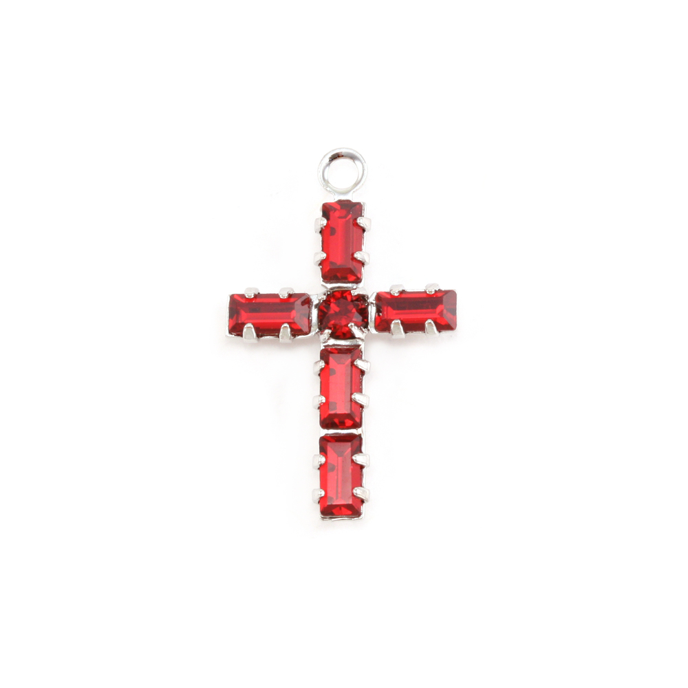 Charms & Solderable Accents Swarovski Crystal Cross Charm (Garnet - JANUARY)