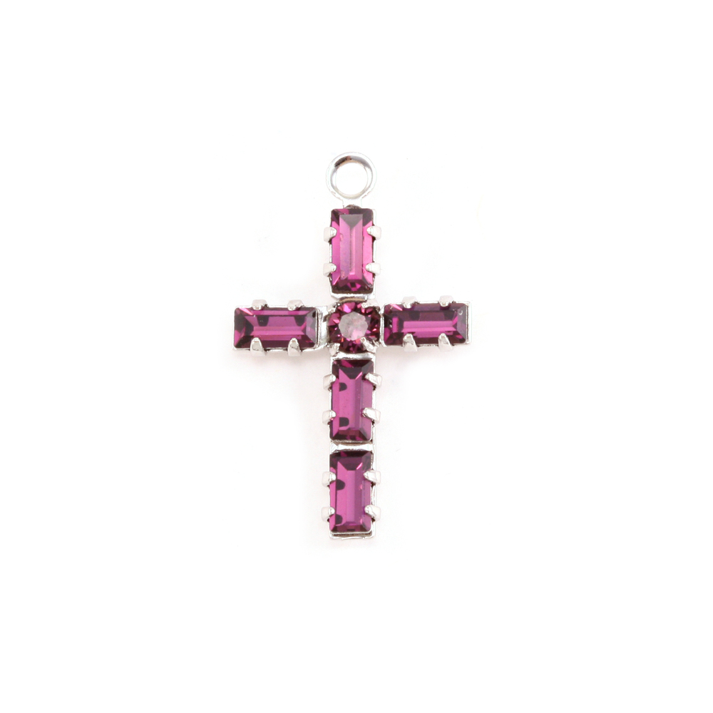 Charms & Solderable Accents Swarovski Crystal Cross Charm (Amethyst - FEBRUARY)