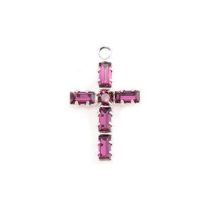 Crystals & Beads Swarovski Crystal Cross Charm (Amethyst - FEBRUARY)