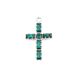 Charms & Solderable Accents Swarovski Crystal Cross Charm (Emerald - MAY)