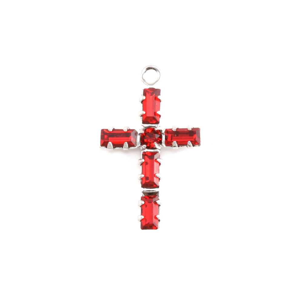 Charms & Solderable Accents Swarovski Crystal Cross Charm (Ruby - JULY)