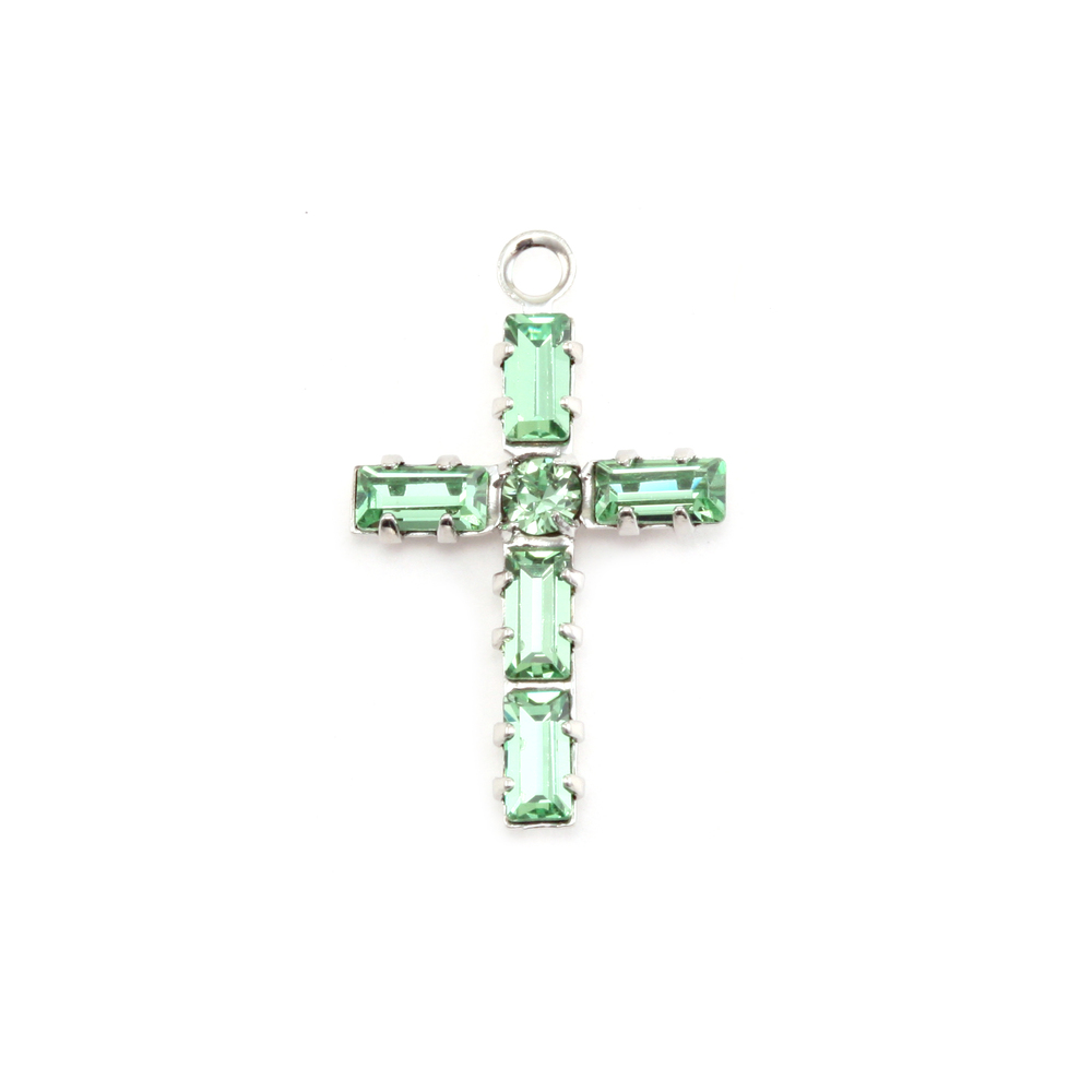 Charms & Solderable Accents Swarovski Crystal Cross Charm (Peridot - AUGUST)