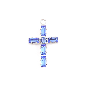 Charms & Solderable Accents Swarovski Crystal Cross Charm (Sapphire - SEPTEMBER)