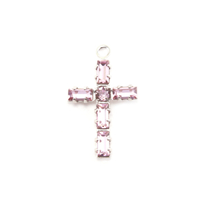 Charms & Solderable Accents Swarovski Crystal Cross Charm (Pink Tourmaline - OCTOBER)