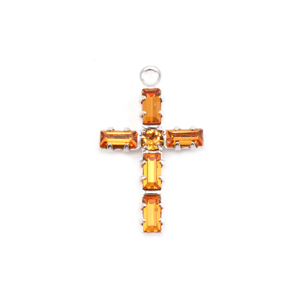 Charms & Solderable Accents Swarovski Crystal Cross Charm (Topaz - NOVEMBER)