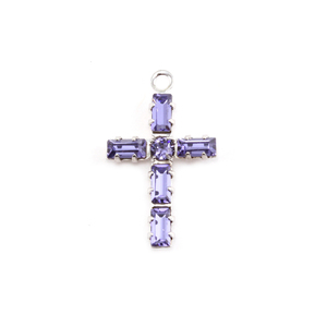 Charms & Solderable Accents Swarovski Crystal Cross Charm (Tanzanite - DECEMBER)