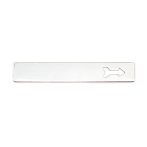 "Metal Stamping Blanks Silver Filled Rectangle Bar with Arrow, 38mm (1.50"") x  6.4mm (.25""), 24g"