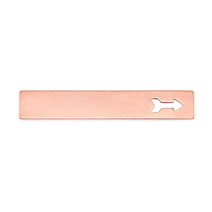 "Metal Stamping Blanks Copper 1.5"" Rectangle with Arrow, 24g"