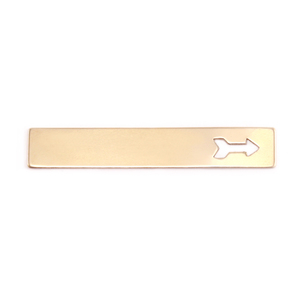"Metal Stamping Blanks Brass 1.5"" Rectangle with Arrow, 24g"