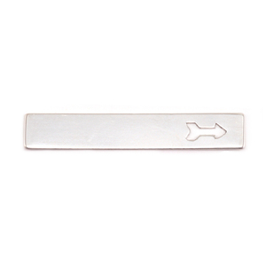 "Metal Stamping Blanks Nickel Silver Rectangle Bar with Arrow, 38mm (1.5"") x 6.4mm (.25""), 24g"