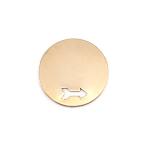 "Metal Stamping Blanks Brass Circle with Arrow, 19mm (.75""), 24g"