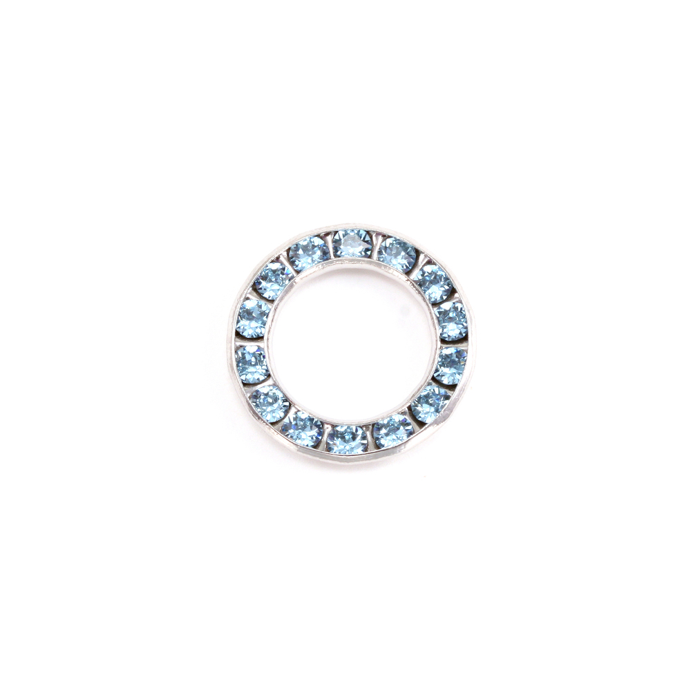 Charms & Solderable Accents Swarovski Crystal Channel Set Circle (Aquamarine - MARCH)  *DISCONTINUED