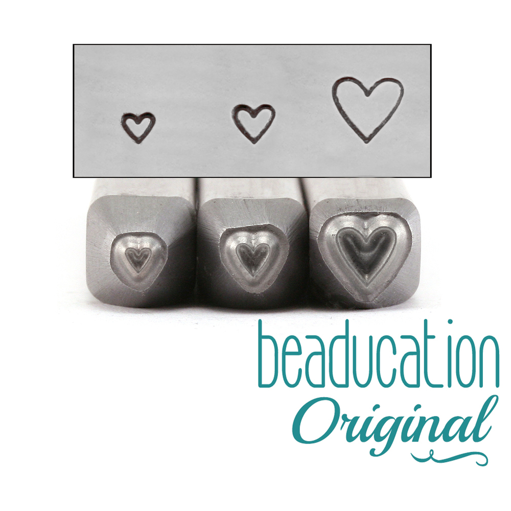 Metal Stamping Tools Tall Heart Metal Design Stamp Trio -1.5mm, 2mm and 3.5mm - Beaducation Original