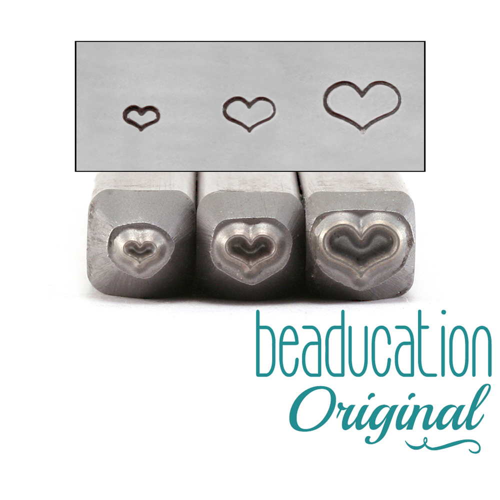 Metal Stamping Tools Fat Heart Metal Design Stamp Trio - 2mm, 3mm and 4.5mm - Beaducation Original