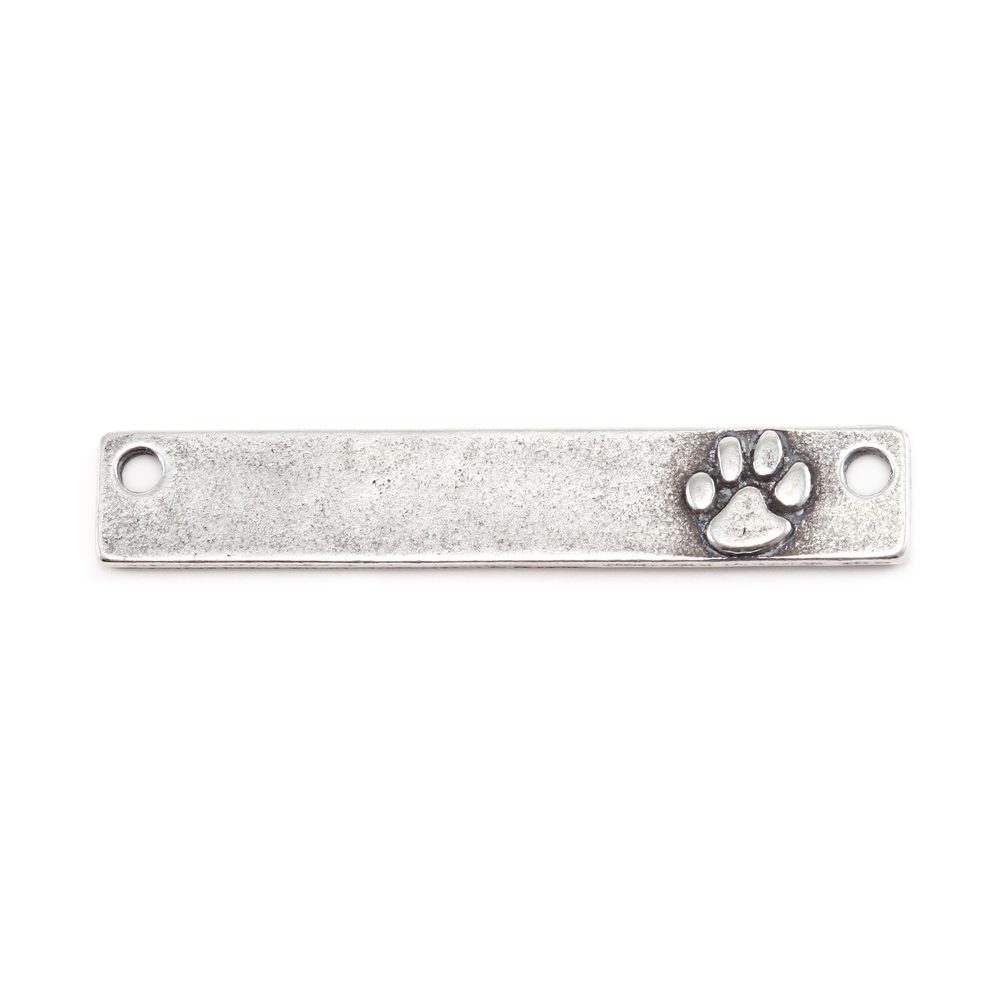 "Metal Stamping Blanks Pewter Rectangle Bar with Raised Paw and Holes, 38mm (1.5"") x 6.4mm (.25""), 16g"