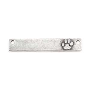 "Metal Stamping Blanks Pewter 1.5"" Rectangle with Raised Paw and two Holes, 16g"
