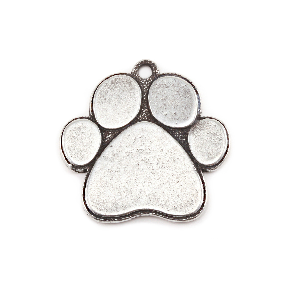 Metal Stamping Blanks Pewter Dog Paw Pendant, 16g