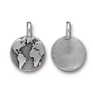 Charms & Solderable Accents Silver Plated Earth Charm