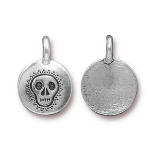 Charms & Solderable Accents Silver Plated Skull Charm