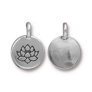 Charms & Solderable Accents Silver Plated Lotus Charm