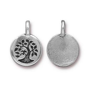 Metal Stamping Blanks Silver Plated Tree Charm
