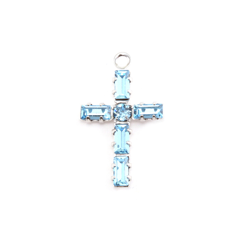 Charms & Solderable Accents Swarovski Crystal Cross Charm (Light Sapphire - Alternative SEPTEMBER)