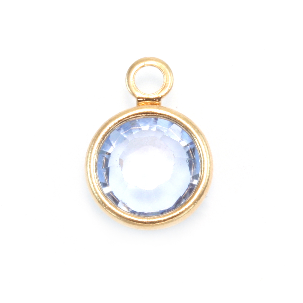 Charms & Solderable Accents Swarovski Crystal Channel Gold Charm (Light Sapphire - Alternative SEPTEMBER)