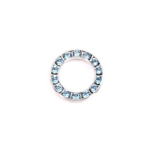 Charms & Solderable Accents Swarovski Crystal Channel Set Circle (Light Sapphire - alternative SEPTEMBER)