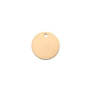 "Metal Stamping Blanks 14K Gold Circle with hole, 9.5mm (.39""), 22g"