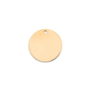 "Metal Stamping Blanks 14K Gold Circle with hole, 13mm (.51""), 22g"