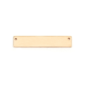 """Metal Stamping Blanks 14K Gold Rectangle Bar with Holes, 30.5mm (1.20"""") x 5mm (.20""""), 22g"""
