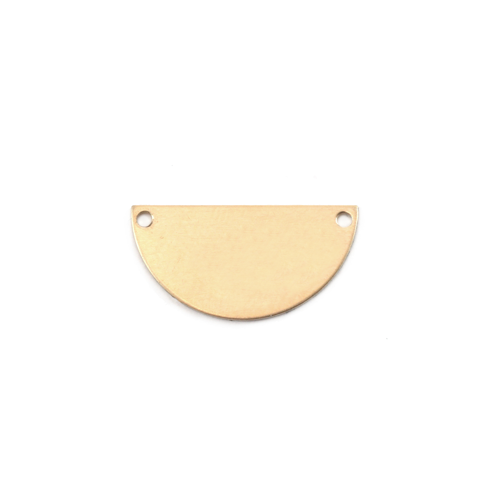 "Metal Stamping Blanks Brass Half Round, Disc, Circle with Holes, 18mm (.71""), 24g, Pack of 5"