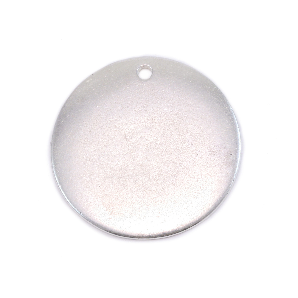 "Metal Stamping Blanks Silver Plated Pewter Round, Disc, Circle with Hole, 25mm (1""), 18g"