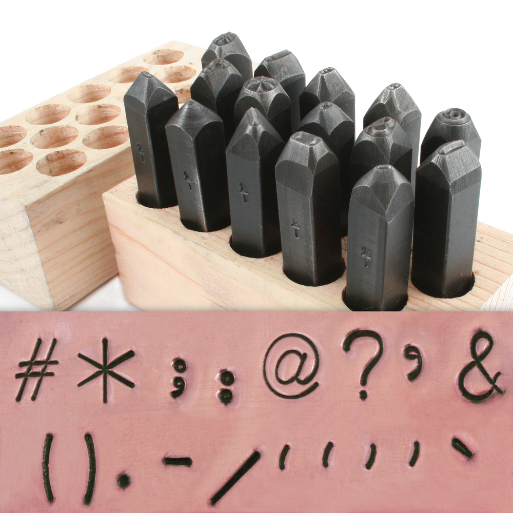 "Metal Stamping Tools USA Made 15 Piece Punctuation Set 1/4"" (6.4mm)"