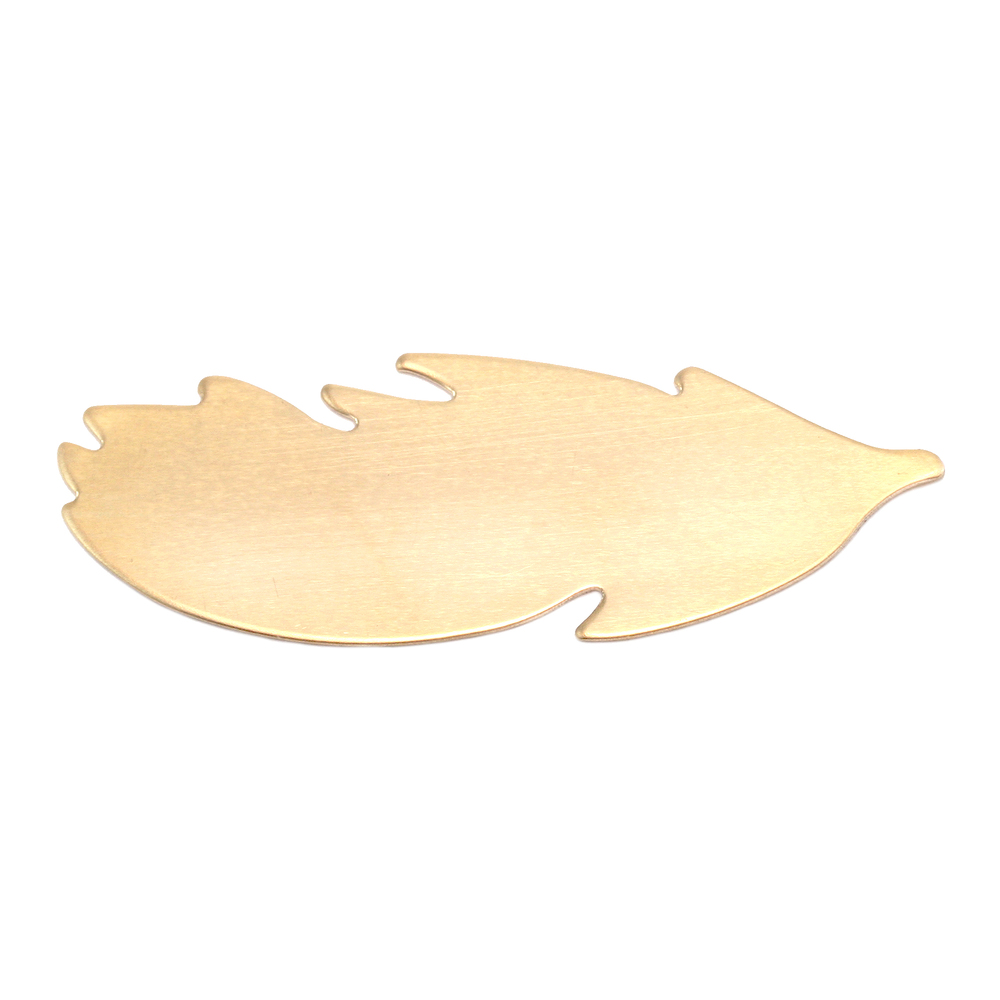 "Metal Stamping Blanks Brass Feather Blank, 40mm (1.57"") x 14mm (.55""), 24g, Pack of 5"