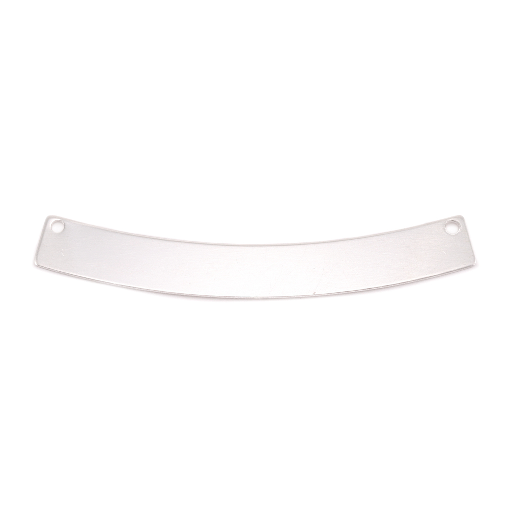 """Metal Stamping Blanks Sterling Silver Curved Rectangle with Holes, 40mm (1.57"""") x 5mm (.20""""), 20g"""