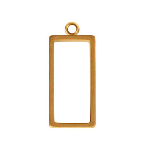 Charms & Solderable Accents Open Frame Small Rectangle - Gold Plated Brass