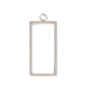 Charms & Solderable Accents Open Frame Small Rectangle - Silver Plated over Brass