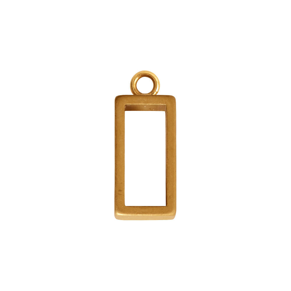 Charms & Solderable Accents Open Frame Tiny Rectangle - Gold Plated Brass