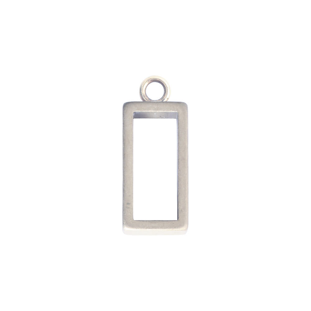 Charms & Solderable Accents Open Frame Tiny Rectangle - Silver Plated over Brass