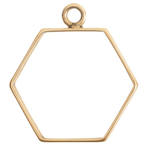 Charms & Solderable Accents Open Frame Large Hexagon - Gold Plated Brass