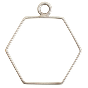 Charms & Solderable Accents Open Frame Large Hexagon - Silver Plated over Brass