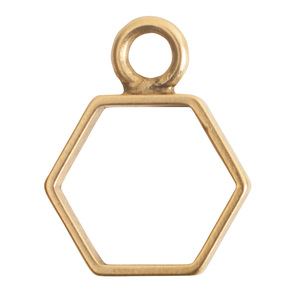 Charms & Solderable Accents Open Frame Small Hexagon - Gold Plated over Brass