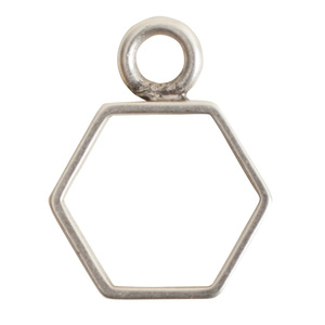 Charms & Solderable Accents Open Frame Small Hexagon - Silver over Brass