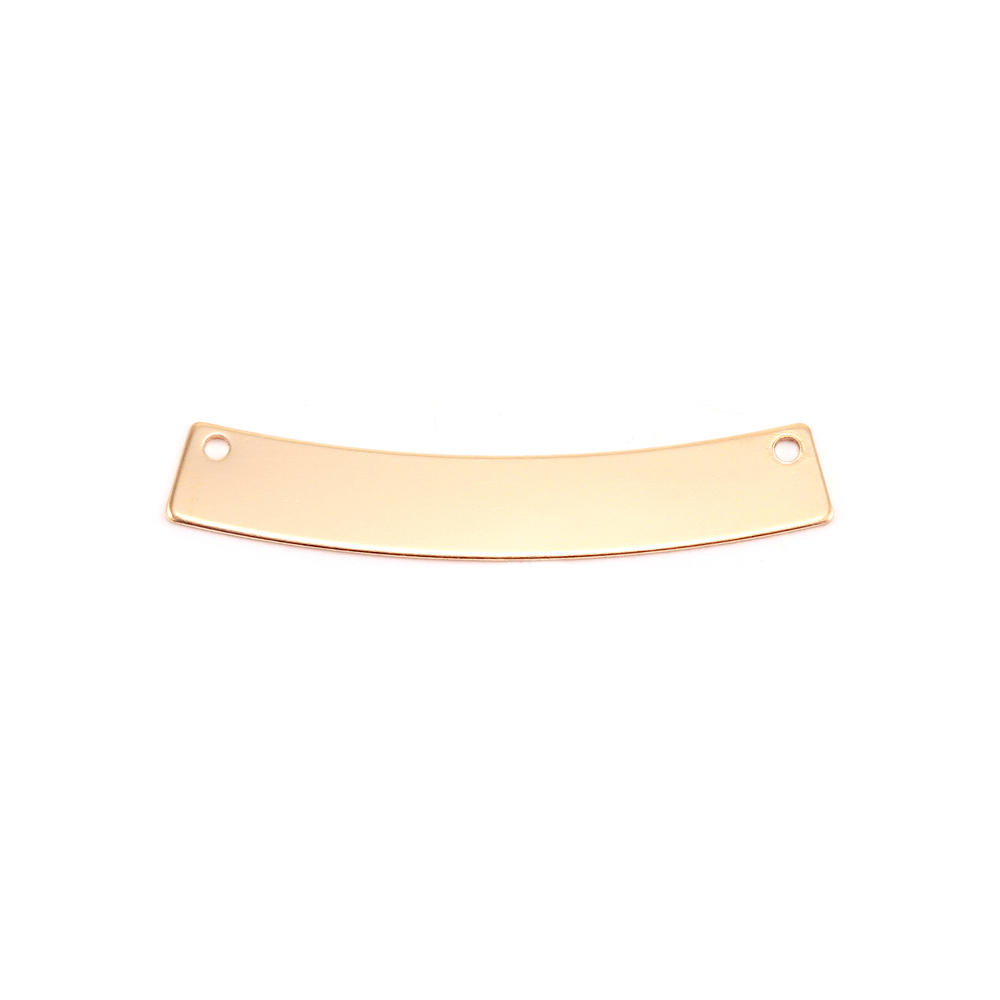 "Metal Stamping Blanks Gold Filled Curved Rectangle Bar with Holes, 30mm (1.18"") x 5mm (.20""), 20g"