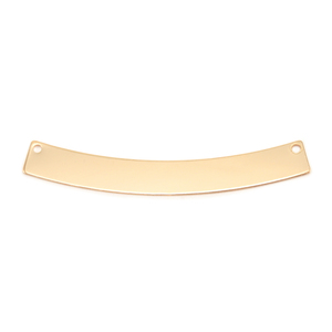 "Metal Stamping Blanks Gold Filled Curved Rectangle Bar with Holes, 40mm (1.57"") x 5mm (.20""), 20g"