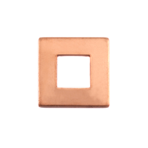 "Metal Stamping Blanks Copper Rounded Square Washer, 19mm (.75"") with 10mm (.39"") ID, 18g"