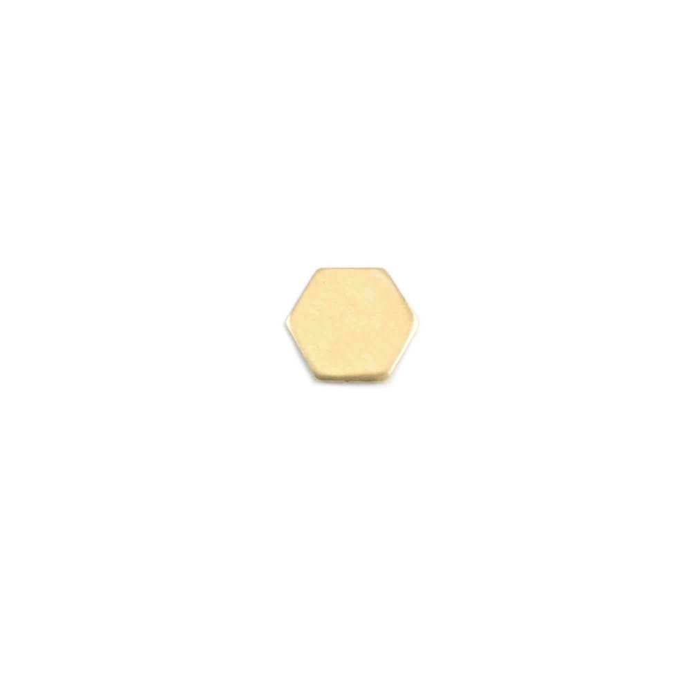 "Charms & Solderable Accents Brass Hexagon Solderable Accent, 6mm (.23"") x 5.8mm (.23""), 24g - Pack of 5"