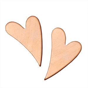 "Metal Stamping Blanks Copper Crazy Heart, 27mm (1.06"") x  11mm (.43""), 18g, Pk of 5"