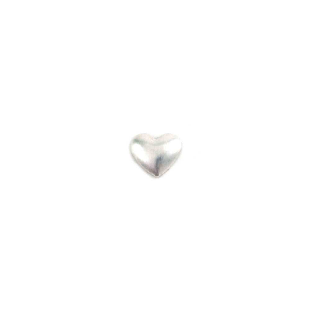 "Charms & Solderable Accents Sterling Silver Tiny Puffy Heart Solderable Accent, 4.2mm (.16"") x 3.6mm (.14""), 26g - Pack of 5"